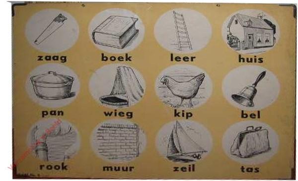 6 - Zaag, boek, leer, huis, pan, wieg, kip, bel, rook, muur, zeil, tas